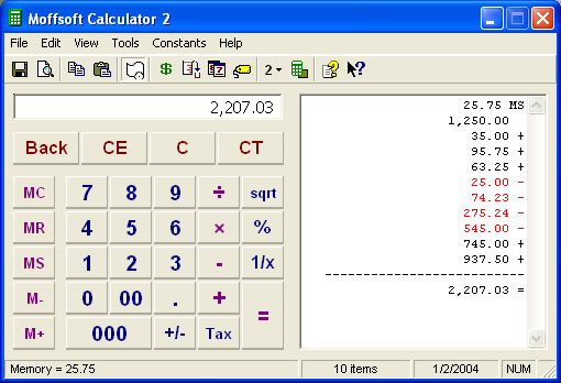 Moffsoft Calculator Screen shot